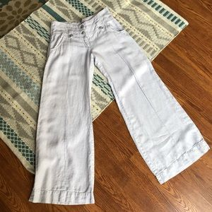 Anthropologie Elevenses Wide Leg Linen Pants Sz 6